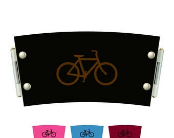 Leather and cork cup sleeve - bicycle