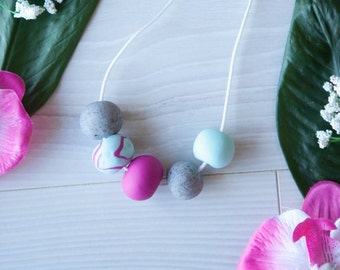 Kennedy—Handmade necklace with mint, pink and granite polymer clay beads