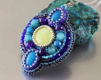 Bead Embroidered Boho pendant necklace, Blue Purple  Gemstone pendant, Big beaded pendant, Beadwork Jade pendant, Seed bead jewelry, Sale