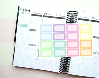 16 Pastel Half Boxes Themed Planner Stickers for Erin Condren, Kikki K, Filofax, Happy Planner, Websters Pages