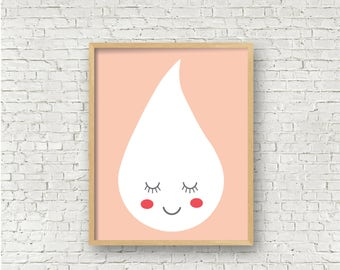 Cute Raindrop Pink Girls Room Decor Girls wall art printable 8x10 digital art print instant download printable wall art toddler girls room