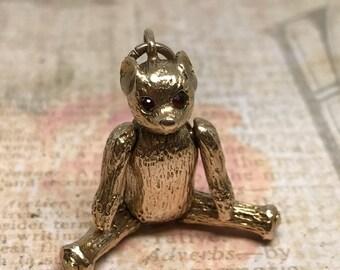 Vintage 9ct 9k Articulated Teddy Bear Charm Pendant with Garnet Eyes