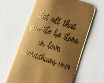 Personalized Journal | Prayer Journal | Scripture Journal | Kraft Journal | Blank Journal | 1 Corinthians | Hand Lettered | Embossed
