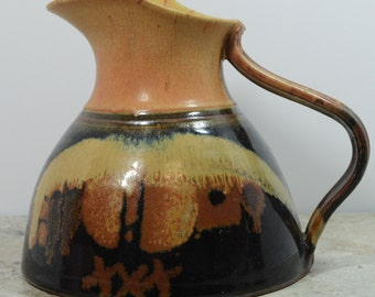 Southwestern Water Pitcher Vase Clay Stoneware Santa Fe Pottery Handmade Signed Wine Carafe SW Decor