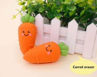 Eraser, carrot erasers, Pencil Erasers, Cute Stationery, High Quality Eraser, School Supplies, Office Supply, gift for kids, cartoon erasers