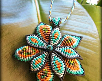 "Handmade Macrame Necklace ""Petals in Spring Colors"" free shipping"