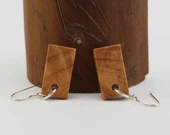 Rectangle Fir Wood Dangle Earrings