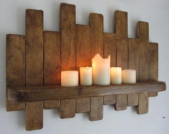 66cm reclamado madera plataforma estante flotante led vela. Black Bedroom Furniture Sets. Home Design Ideas