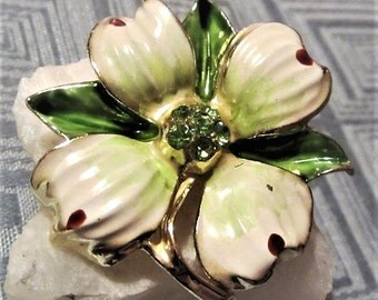 Enamel Dogwood Flower Brooch with Green Rhinestone Center Vintage 1950s