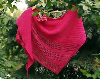 "Knitted pink shawl ""Rose"" - oversized lace shawl - extra fine merino wool shawl - knit triangular shawl"
