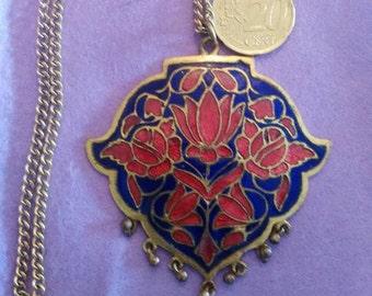 Cloisonné enamel pendant necklace