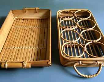 Vintage Bamboo Drink Holder Set with Matching Bamboo Serving Tray Combo - Two Items Included - Vintage Bohemian Dining / Decor