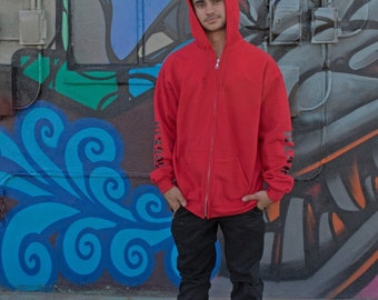 Rockin Street Wear Hoodie Red Sweatshirt