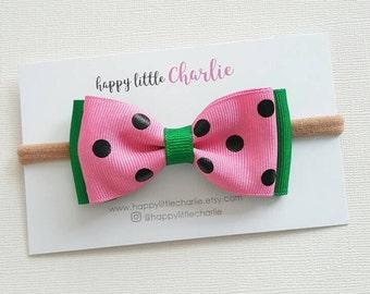 Watermelon-inspired Ribbon Bow // Baby Girl Headbands, Headband Set, Hairclips