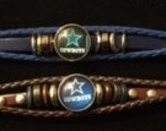 Dallas Cowboys Interchangeable Snap Bracelets - Choose from Brown or Blue Leather - Includes a 20mm Snap
