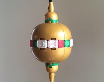 Antique-Style Gold Orb Christmas Ornament Kit with Lego Bricks - Custom Lego Kit - Lego Christmas Ornament - Children's Christmas Gift