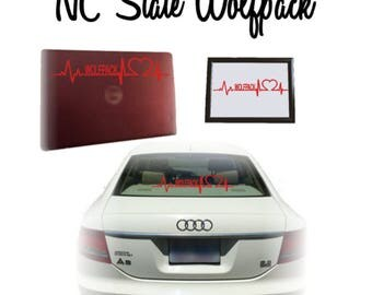 North Carolina State University (NC State) Wolfpack Heartbeat Vinyl Decal