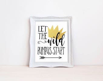 "Where The Wild Things Are Birthday Party Printable 8""x10"" Crown Sign 