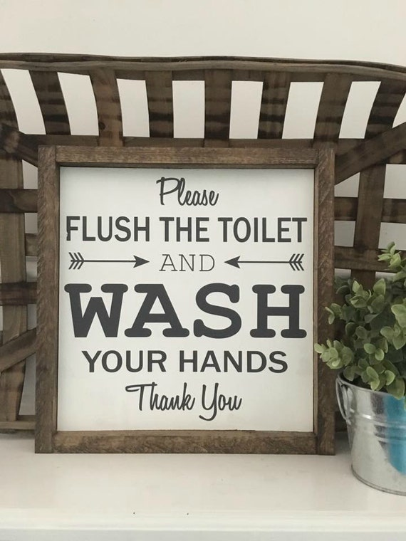 Flush The Toilet, Wash Your Hands, Bathroom Sign, Wood Framed Sign, Rustic Decor, Farmhouse Style Decor, Handwritten Font, Gallery Wall