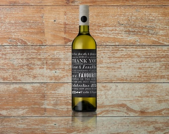 Wedding Thank You Text Collage Chalkboard Wine Label