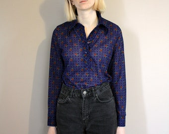Vintage 90s St Michael Blue Rose Shirt/Blouse - Extra Small/Small