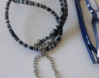 Black and white Boho Ibiza style glasses cord necklace   for him or her