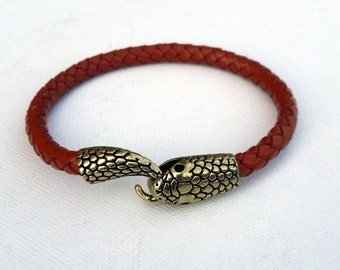 Braided leather snake bracelet, Cognac color leather cuff with snake closure trendy design bracelet, Gift for him,