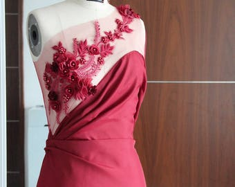 Asymmetrical backless evening dress - in 7 colours - gown with embroidery on tulle - flowers - beads