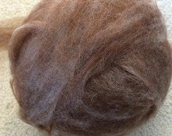 Medium Brown Alpaca Wool Blend Roving