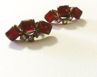 Red Rhinestone Vintage Clip on Earrings