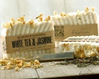 WHITE TEA & JASMINE Goat Milk Soap~Organic Soap~Organic skin care~Bath and Beauty~Rustic Soap~Natural soap~White Tea soap~Jasmine Soap~soap