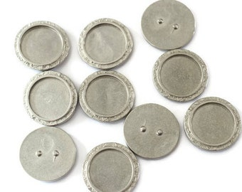 Top of ring round textured Tin for making jewelry LoB-62 (10 pieces)