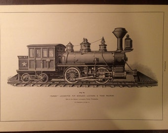 """Antique Print of """"Forney"""" Locomotive for Morgans Louisiana and Texas Railroad"""