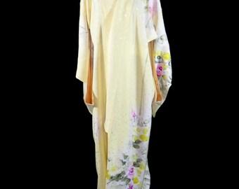 Vintage Japanese Kimono / Houmongi / Rose / Flower