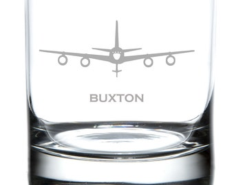 KC-135 Laser Etched Rocks Glass, Personalized Glassware