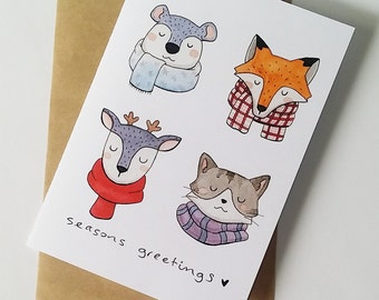 handmade christmas cards - christmas card set - greeting cards - holiday greetings - cute christmas card - seasons greetings