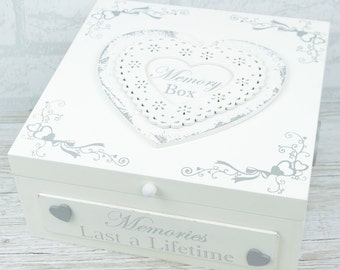 Shabby Chic Wooden Memory Box Memories Last A Lifetime Large Wooden Keepsake Box F1441