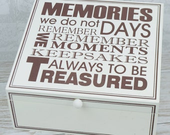 Wooden Memory Box Keepsake Chest Treasured Memories Men's Ladies Kid's Box F0808 W10