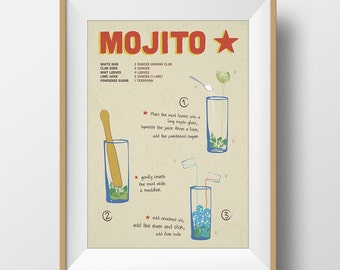 Mojito recipe mojito print giclee print cuba cuban print mojito poster cuban poster home decor wall art illustration print recipe print
