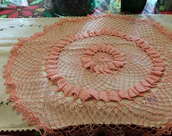 Vintage Pink and White Doily
