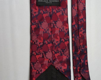 Jean-Louis SCHERRER Black/Burgundy 100% silk tie