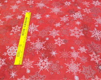 Winter Celebration Snowflakes on Red Cotton Fabric by Red Rooster