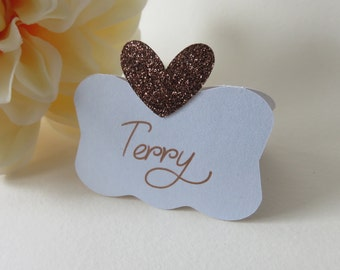 Bronze Place Cards, Copper Place Cards, Glitter place cards, Personalized Place Cards, Wedding Place Cards, Custom Place Cards, Copper