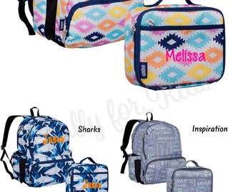 Aztec Print Personalized Backpack and Lunch Box Back to School Aztec Backpack Insulated Lunch Box