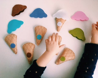 Ice Cream Cone Color Game, Preschool Learning Games, Color Matching Game,Educational Games of Felt, Educational Color Games, Matching Game.