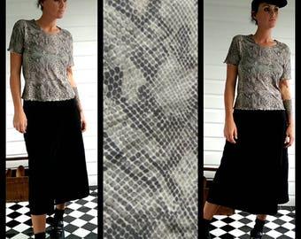 Grey mesh snake skin reptile print goth cyber sheer 90s 80s micro crop tee top