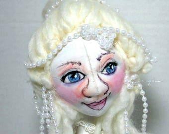 Cloth Art Doll Bust in Blue OOAK, Sweet Soft Sculpture, Doll Shelf Sitter, JDCreativeDolls