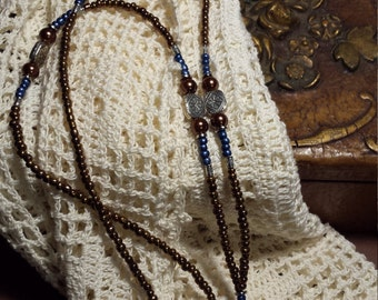 Brown and blue beaded lanyard