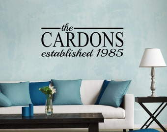 Personalized Family Name & Year Established - wall vinyl decal, home decor, vinyl sticker, wall art, vinyl lettering, living room art