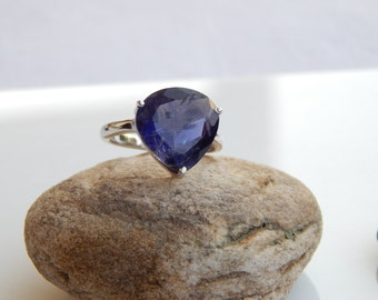 Genuine Iolite Gemstone (Water Sapphire), Iolite Solitaire Ring, 925 Solid Sterling Silver Ring, Large gemstone Ring, all sizes available